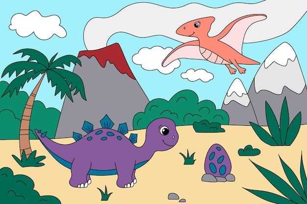 Cartoon ute dinosaurussen in het prehistorische landschap