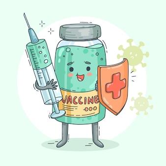 Cartoon vaccinatie campagne illustratie