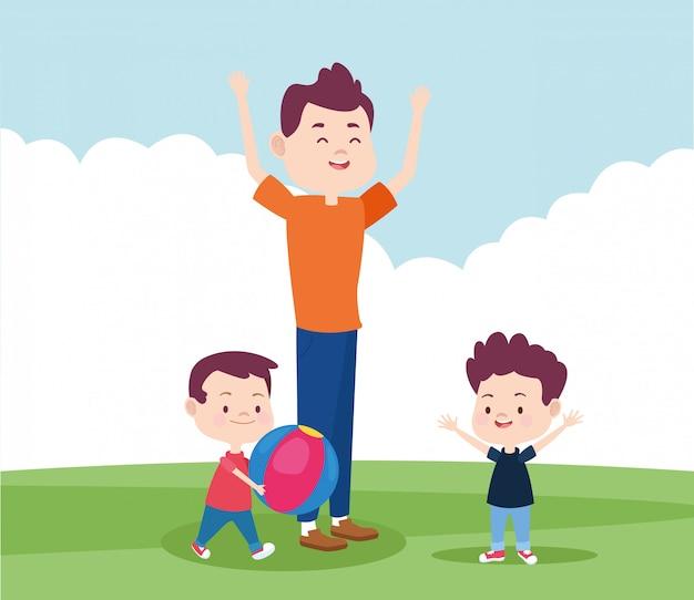 Cartoon vader en zijn zonen