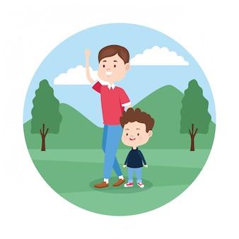 Cartoon vader en zoon in het park