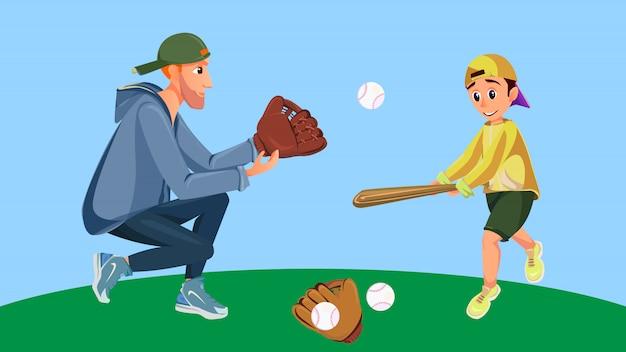 Cartoon vader en zoon spelen honkbaljongen hit