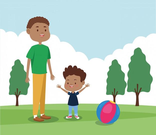 Cartoon vader en zoon spelen in het park
