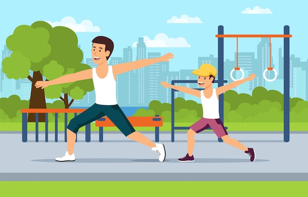 Cartoon vader en zoon sporten op speelplaats
