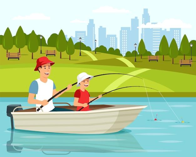 Cartoon vader en zoon zitten in de boot.