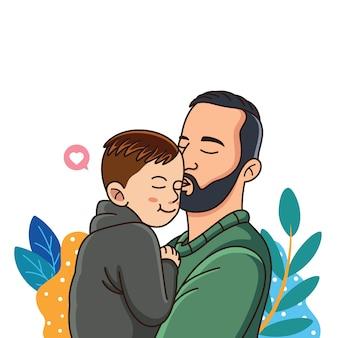 Cartoon vader houdt van zijn kind