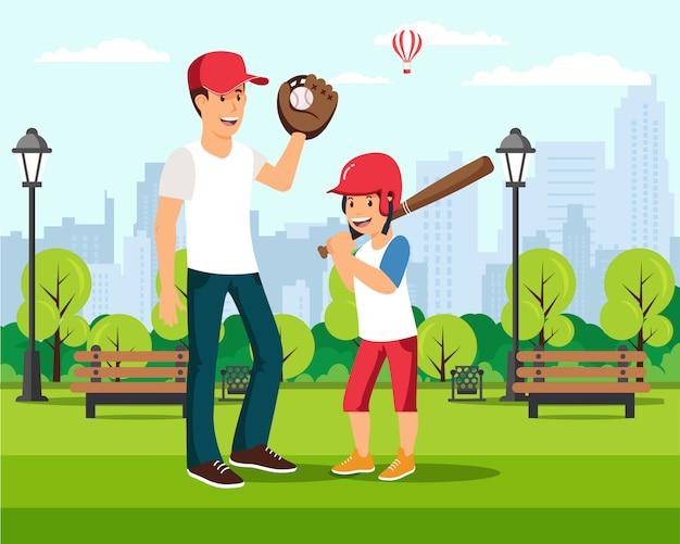 Cartoon vader speelt honkbal met zoon in park