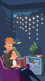 Cartoon vader zitten in leunstoel te lezen voor little son