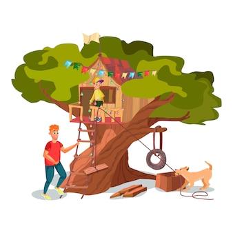 Cartoon vader zoon hond bouwen huis op boomtuin