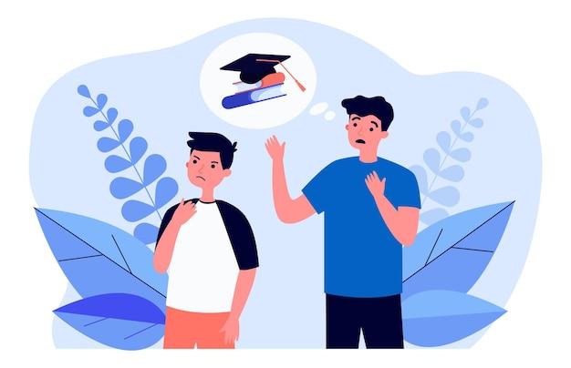Cartoon vader zorgen te maken over zoon studeren op school