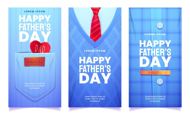 Cartoon vaderdag banners instellen