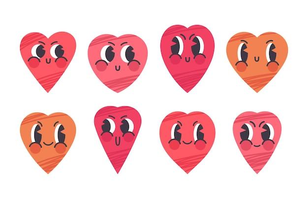 Cartoon valentijnsdag hart tekens schattige harten blije gezichten vector illustratie symbolen