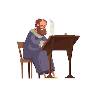 Cartoon van bebaarde middeleeuwse analist schrijven met veer