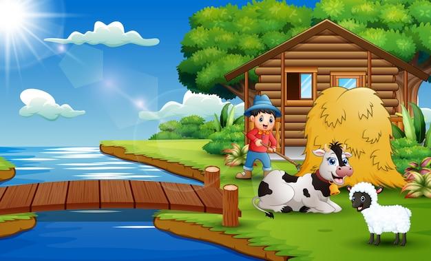 Cartoon van boerenactiviteit in het prachtige park