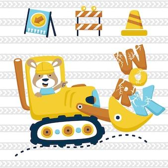 Cartoon van bouwmaterieel met grappige dieren