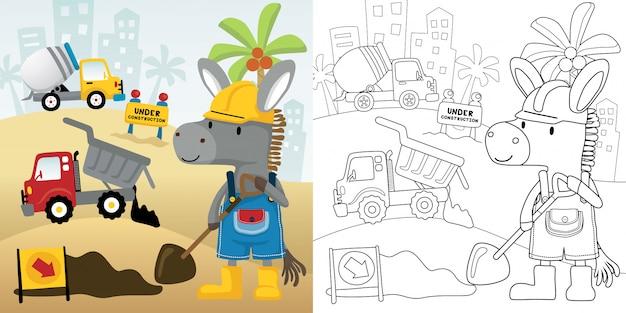 Cartoon van bouwvoertuig met ezel de werknemer