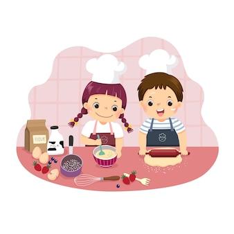 Cartoon van broers en zussen samen bakken aan het aanrecht. kinderen doen van huishoudelijke klusjes thuis concept.