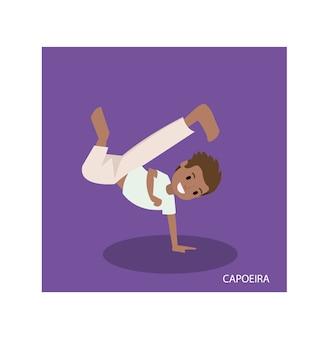 Cartoon van capoeira vechtsporten met staande hand vormt