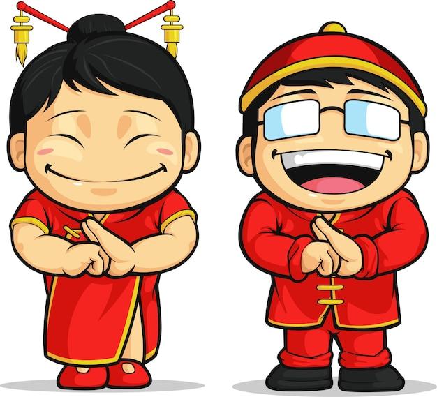 Cartoon van chinese jongen en meisje