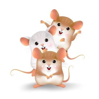 Cartoon van de drie kleine ratten-persoonlijkheid.