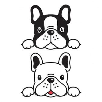 Cartoon van de hond het franse buldog