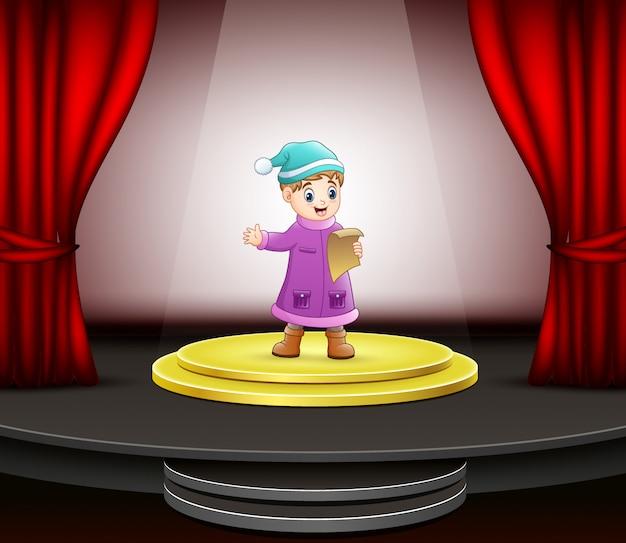 Cartoon van de kleine jongen zingen op het podium
