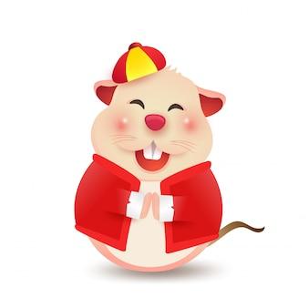 Cartoon van de kleine rattenpersoonlijkheid met traditioneel chinees kostuum. chinees nieuwjaar.