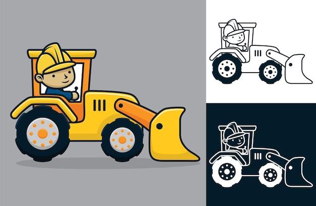 Cartoon van de mens die een arbeidershelm draagt die bouwvoertuig berijdt.