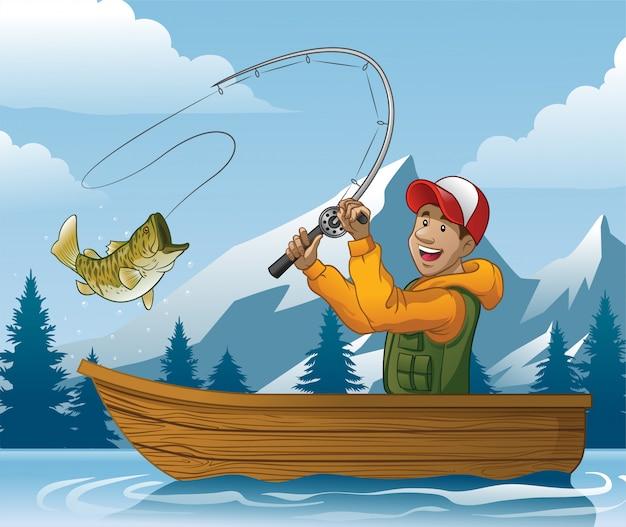 Cartoon van de mens die in de boot vist