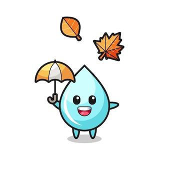 Cartoon van de schattige waterdruppel met een paraplu in de herfst, schattig stijlontwerp voor t-shirt, sticker, logo-element