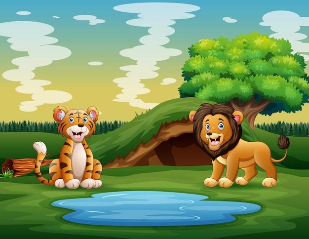 Cartoon van de wilde dieren die genieten van de natuur bij de vijver