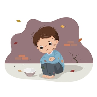 Cartoon van een arme jongen die bedelt met een lege kom. dakloze jongen.