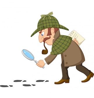 Cartoon van een detective onderzoekt voetafdrukken