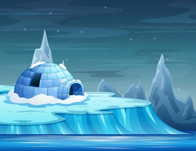 Cartoon van een ijsberg met een iglo