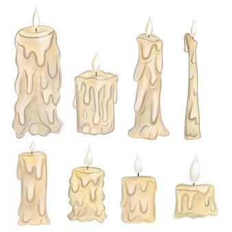 Cartoon van een kaars op een witte achtergrond kaarsen van verschillende vormen in kandelaars