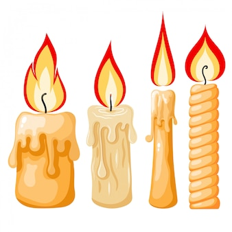 Cartoon van een kaars. set gele kaarsen met vlammen in cartoon-stijl.
