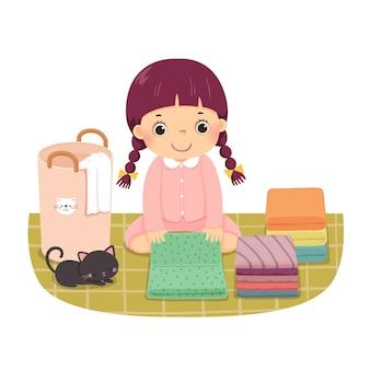 Cartoon van een klein meisje kleren vouwen. kinderen doen van huishoudelijke klusjes thuis concept.