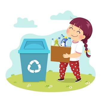 Cartoon van een klein meisje met een doos met de plastic flessen naar de prullenbak. kinderen doen van huishoudelijke klusjes thuis concept.
