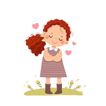 Cartoon van een klein meisje met rood krullend haar dat zichzelf knuffelt. houd van jezelf-concept.