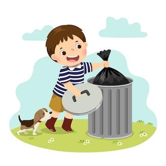 Cartoon van een kleine jongen die het afval buiten zet. kinderen doen van huishoudelijke taken thuis concept