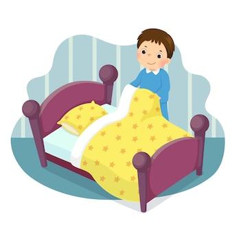 Cartoon van een kleine jongen die het bed opmaakt. kinderen doen van huishoudelijke klusjes thuis concept.