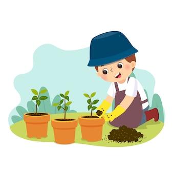Cartoon van een kleine jongen tuinieren. kinderen doen van huishoudelijke taken thuis concept