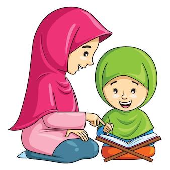 Cartoon van een moslimmeisje dat de koran leert reciteren met haar moeder