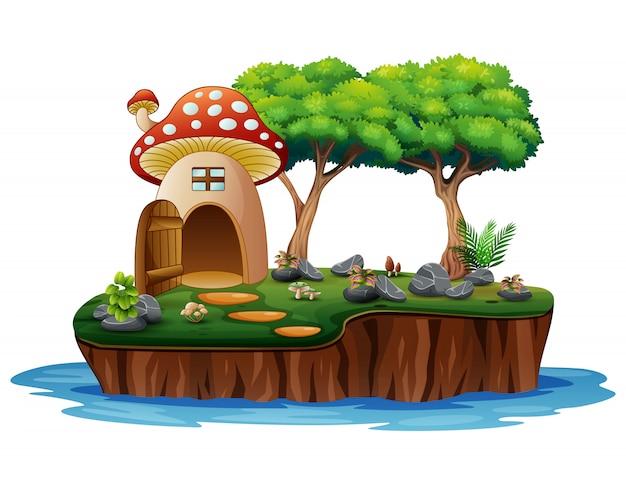 Cartoon van een paddestoelhuis op eiland