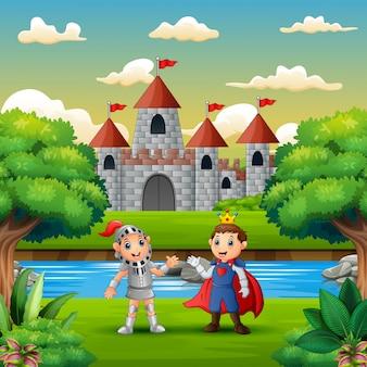 Cartoon van een prins en een ridder aan de rand van de rivier