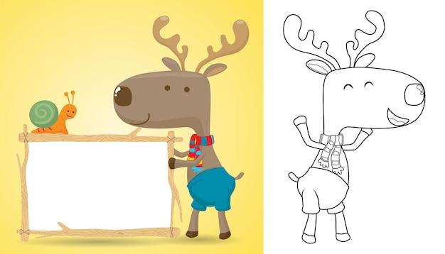 Cartoon van elanden die leeg tekenmalplaatje houden wanneer kleine slak erop kruipt