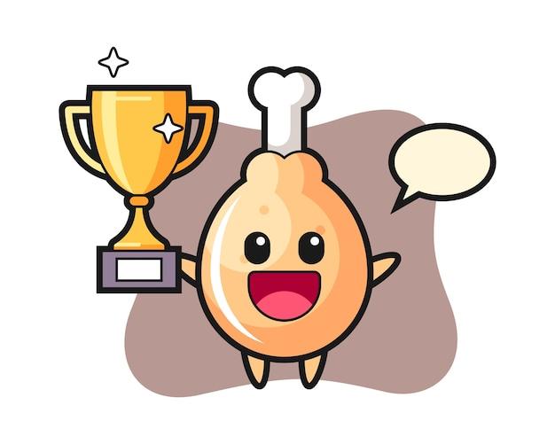 Cartoon van gebakken kip is blij met de gouden trofee