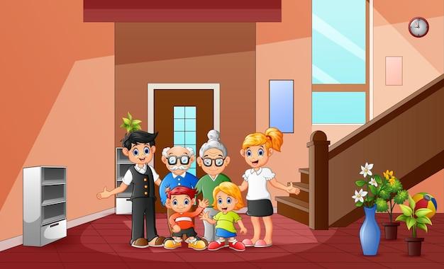 Cartoon van gelukkig familielid thuis