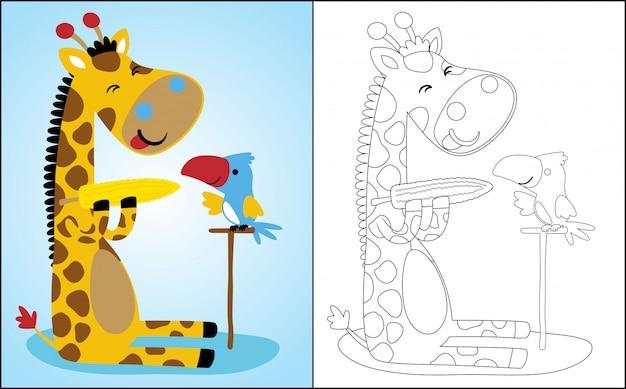Cartoon van giraffe en vogel eten maïs