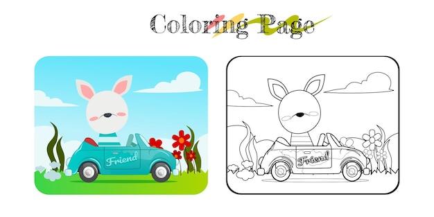 Cartoon van grappig konijn op blauwe auto met natuur achtergrond kleurboek of pagina premium vector
