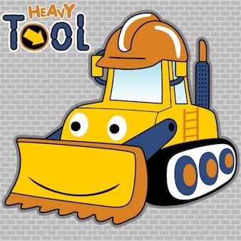 Cartoon van grappige bulldozer op bakstenen achtergrond